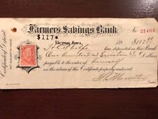 Antique Farmers Savings Bank, IA voucher to pay for Certificate of Deposit 1898
