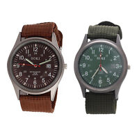 SOKI Army Military Knitted Fabric Band Wrist Watch(coffee) T5A8@P6M4