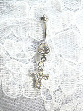 NEW DAZZLING CLEAR CRYSTAL CROSS CHARM ON 14g CLEAR CZ BELLY RING NAVEL BARBELL