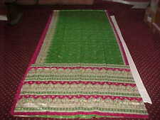NEW Red Parrot GREEN Pink GOLD IMMACULATE Sari Fabric DRAPE Paisley Panel WINDOW