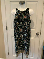 Allison Joy Black Multicolor Floral Sleeveless Shift Dress, Size Medium