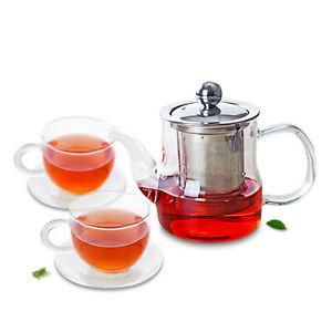 3in1 Tea Set -370ml Heat Resistant Glass Teapot & Infuser & Lid+2x Cup & Saucer