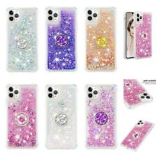 For iPhone 11 Pro Max Shockproof Bling Liquid Glitter Ring Holder Case Cover