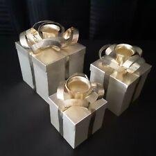 Godinger Silver Art 3 piece Gift Box Candle Holder Set Wedding Christmas