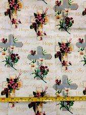 CHURCH FAITH HOPE Religious CROSS Quilt Cotton Fabric Fat Quarter 18