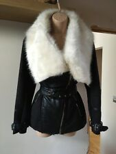 River Island Black Faux Leather & Faux Sheepskin Jacket Faux Fur Collar Size 10