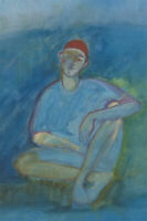 Contemporary Oil - The Blue Man with Red Cap