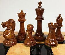 "4 QNS Sheesham Lacquer 4.5"" Anderssen Staunton Wood Large Chess Men Set NO Board"