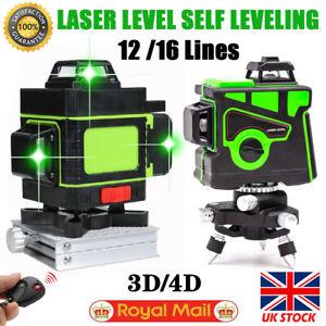 12/16 Line 4D 360° Rotary Green Laser Level Self Leveling Cross Measure Tool Set