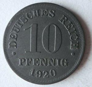 1920 GERMAN EMPIRE 10 PFENNIG - Excellent Coin GERMANY BIN #19