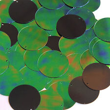 Green Jungle Rainbow Black Sequin Round 30mm Couture Paillettes