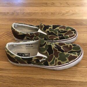 VANS Slip On Custom Camo Canvas Low Top Skate Shoes Men's Size 11 Camouflage