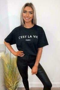 Womens Ladies T Shirt Oversized Baggy Fit Short Sleeve Slogan T-shirt Tee Tops