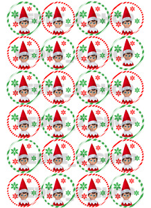 24 x Christmas Elf Edible Cupcake Toppers Wafer Icing Decorations Naughty