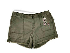 Lane Bryant Womens Plus 20 Green Embroidered Shorts Boho Romantic Festival