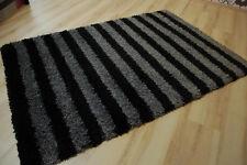 Tapis poil long tendance-shaggy 604 noir gris rayé 120x170cm