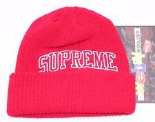 Supreme New York Box Loose Gauge Arc Red White Logo Beanie Hat FW17BN37 New