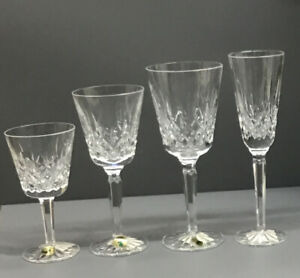 Waterford Lismore Claret 4 Pc Set - Flute, Goblet, Tall & Small Wine Glasses