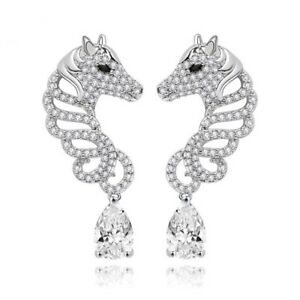 Made Using Swarovski Crystals The Opeli Silver Seahorse Earrings $110 S5