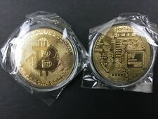 Bitcoin In Protective Acrylic Case Gold Plated Physical Coin New Sealed