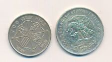 Silbermünzen 25 Pesos Mexiko und 100 Pesetas Spanien