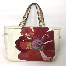 "Coach Ltd Ed ""Poppy For Peace"" White Leather Floral Tote Purse Bag #9244 *"