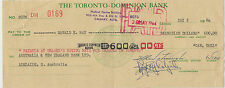 Toronto Dominion Bank 1964 Bill of Exchange Northerh Territory 1d stamp duty
