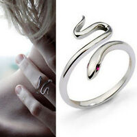 Silver Plated Opening Adjustable Snake Animal Finger Ring Women's Jewelry GiftFO