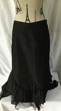 PROMOD Asymmetrical SKIRT Mid-Calf Length Embellished w Lace & Ruffles in Black