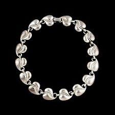 Antique Vintage Deco Sterling Silver Lang Womens Repousse Leaf Panel Necklace!