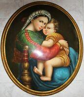 quadro dipinto madonna su legno cornice oro barocca  classico antico capezzale