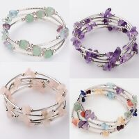 Crystal Gemstone Bead Bracelet Wrap Natural Stone Jewellery Gift Bangle New UK