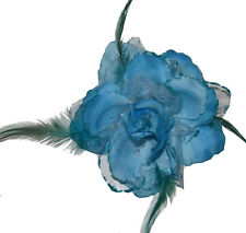 Buttonhole Hair Accessories with Feather Flower Brooch Glitter Wedding