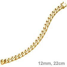 0 15/32in Wide Chain Bracelet Curb 585 Yellow Gold 8 21/32in, Gold Bracelet