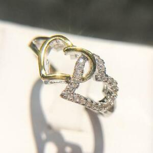 Women Romantic Double Love Heart Engagement Wedding Ring Jewelry LC