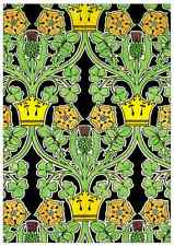4 C.F.A. Voysey Arts & Crafts/Art Nouveau Small Gift Cards - Shamrock,Rose,Raven
