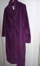 Karen Neuburger womens l/s waffle plush robe full length zipper front purple M