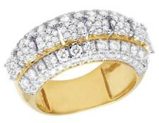 Men's 10K Yellow Gold Genuine Diamond Cluster Wedding Band Ring 2 3/5 CT 11MM