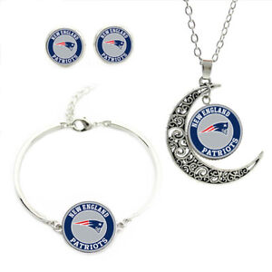 NF05 New England Patriots team logo set -necklace, bracelet, earrings-