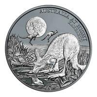 2019 Niue $1 Australia at Night Kangaroo 1oz Silver Black Proof Coin