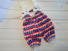 baby girl outfit set bubble romper 4th of july patriotic white satin stars 9-12m