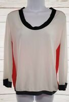 Luisa Cerano Career Blouse Sz 6 Women White Orange Brown Banded 3/4 Sleeve