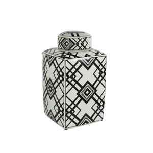 "Sagebrook Decorative Ceramic Square Covered Jar, White/Black, 17.75"" - 12460-04"