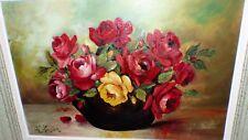 Peinture sur panneau fleurs années 50  haut 65 larg 88 prof 6.5 cm