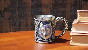"""Game of  Thrones 3D Mug (Stainless Steel Cup and Plastic cover): """" Dire-wolf """""""