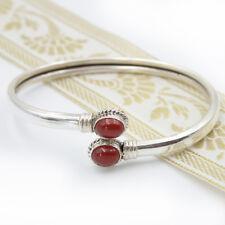 Karmeol Armreif Silber 925 Armspange mit Edelstein Armreifen Rot Indien Reif gts