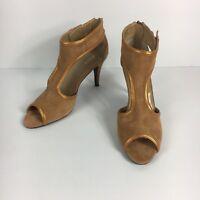 Women's Bijou New York High Heels Tan Suede Leather Back Zip Sandals Size 9M