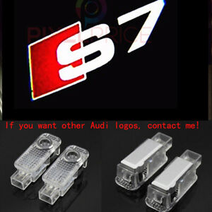 2x Laser LED Logo Door Lamps Puddle Courtesy Projector Shadow Lights For AUDI S7