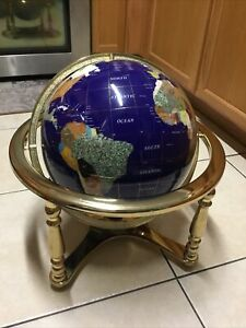 "Exquisite Vintage Large Semi-Precious Gemstone Globe. 18"" Compass in Brass Base."