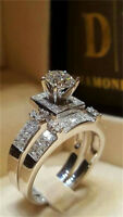 Chic Women White Sapphire Silver Ring Set Engagement Wedding Jewelry Gift Sz6-10